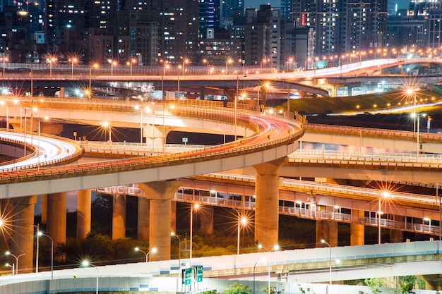 Car light trails of new taipei bridge
