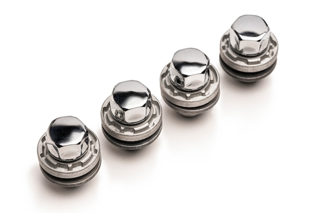 Car lock nuts, wheel nut that protect the wheels from theft. close-up of the isolate on a white space