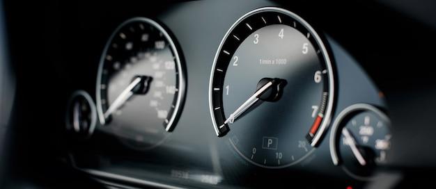 Car miles speedometer close up Premium Photo