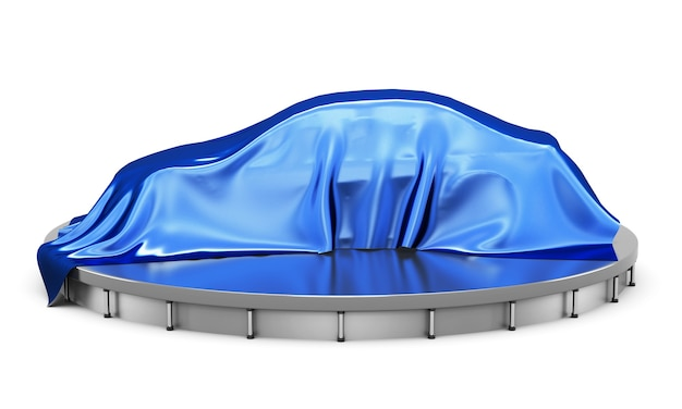 Автомобиль на подиуме, покрытый синей атласной тканью