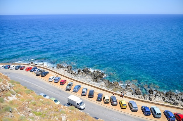 Car parking on the beach in rethymnon
