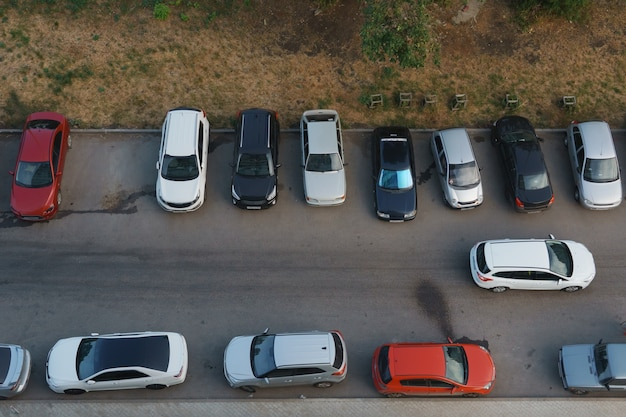 Car parking in the summer. view from above.