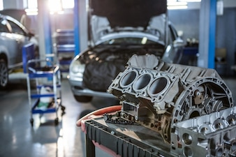 Car parts in repair garage