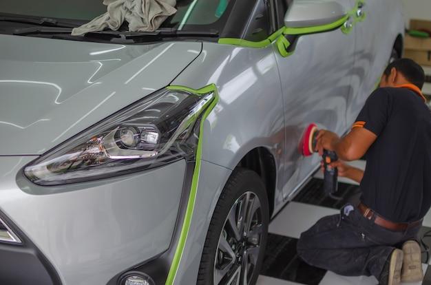 Car polishing.