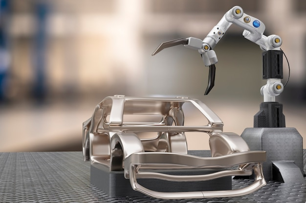 Car production processing service in factory robot hi tech robotic ai control arm hand robot artificial for car technology garage dealership with tech hand cyborg engineering automotive 3d rendering