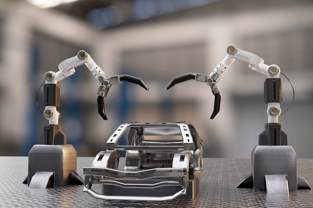 Car production processing service in factory robot