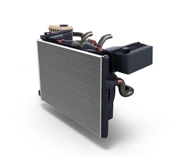 Автомобильный радиатор, изолированные на белом фоне 3d визуализации