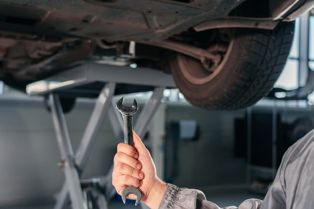 Концепция ремонта, технического обслуживания и осмотра автомобилей. мужчина держит гаечный ключ перед автомобилем
