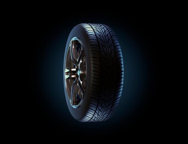 Car rim and tyre standing on asphalt road