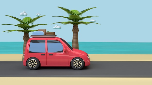 Car on road beach blue sea coconut-palm trees cartoon style 3d render vacation travel summer concept
