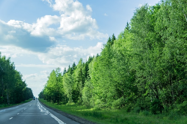 Car road through the forest in a sunny day in russia