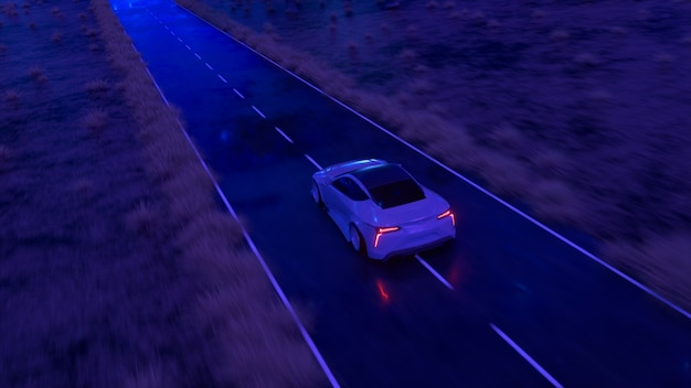 The car rushes at fast speed along the asphalt road along the desert into a fabulous sunset with a magical blue tint. 3d illustration