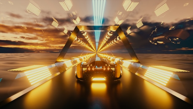 The car rushes at high speed through an endless neon technology tunnel futuristic concept