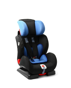 Car safety seat for child on white