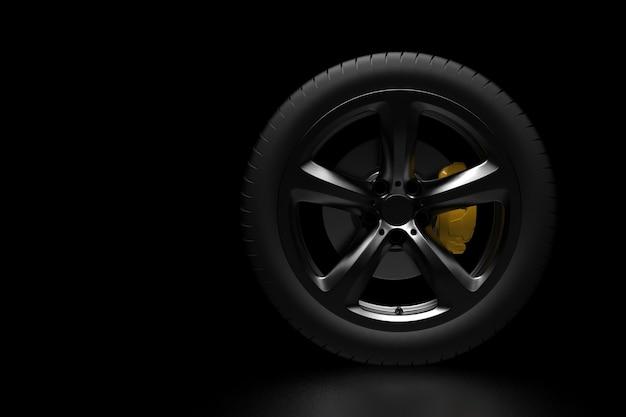 어두운 배경에 자동차 서비스 컨셉 휠 3d 렌더링