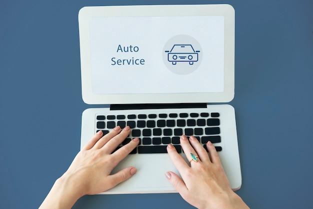 Simbolo del segno dell'icona del servizio auto