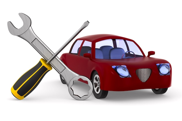 Car service on white space. isolated 3d illustration