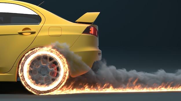 자동차 측면보기가 움직이고 화재 흔적을 남기고 있습니다.
