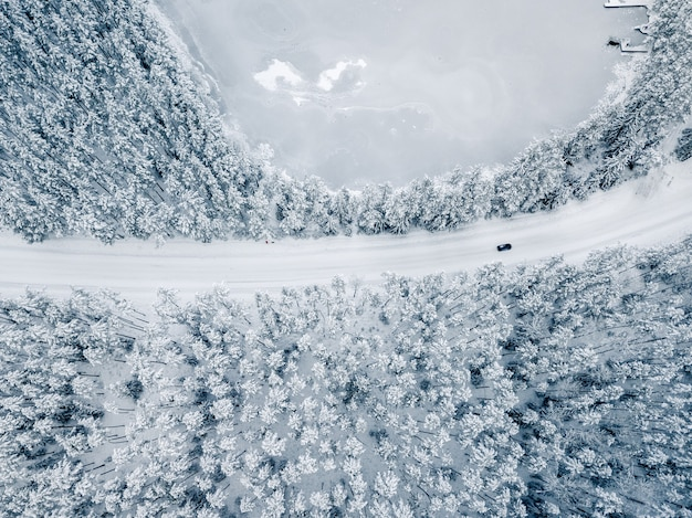 Car on snow covered road between snowy trees - drone view, top down photo