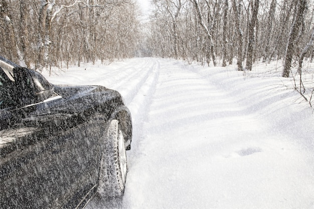 Car in the snowy forest