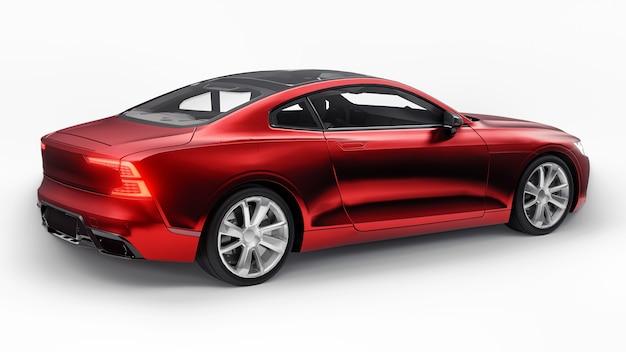 Автомобиль спортивное купе технологии экологичного транспорта красный автомобиль на белом фоне 3d-рендеринга