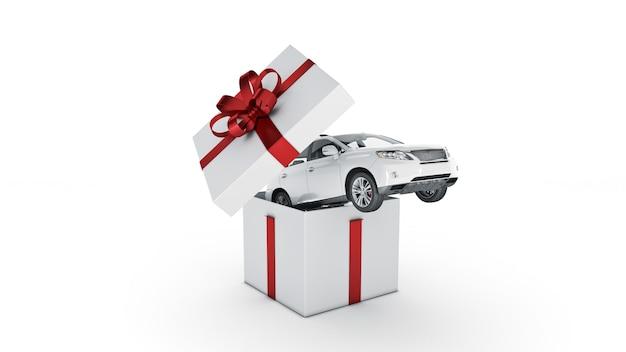 Автомобиль внедорожник купе подарочная коробка концепция 3d рендеринг