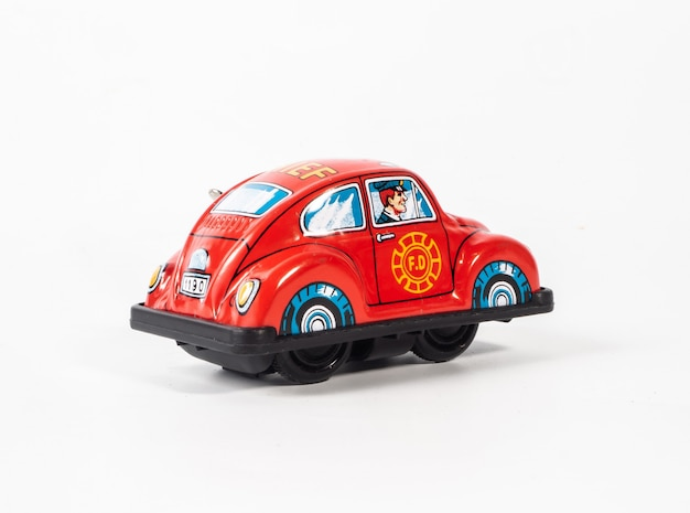 Car tin toy  on  white