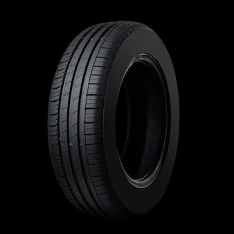 Car tire on black