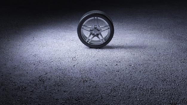 아스팔트에 자동차 타이어