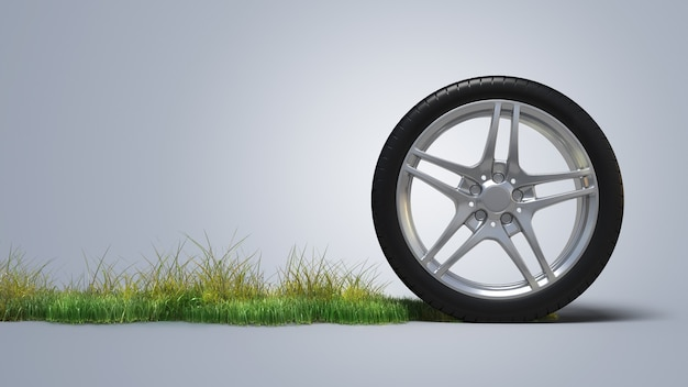 잔디에 자동차 타이어 프리미엄 사진