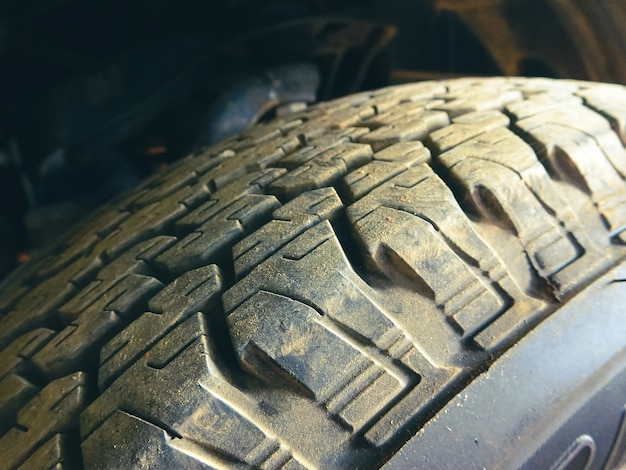 Car tire tread with dirty of the pickup truck