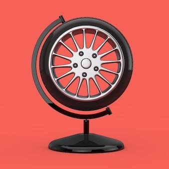 Колесо автомобильных шин в форме земного шара на красном фоне. 3d рендеринг