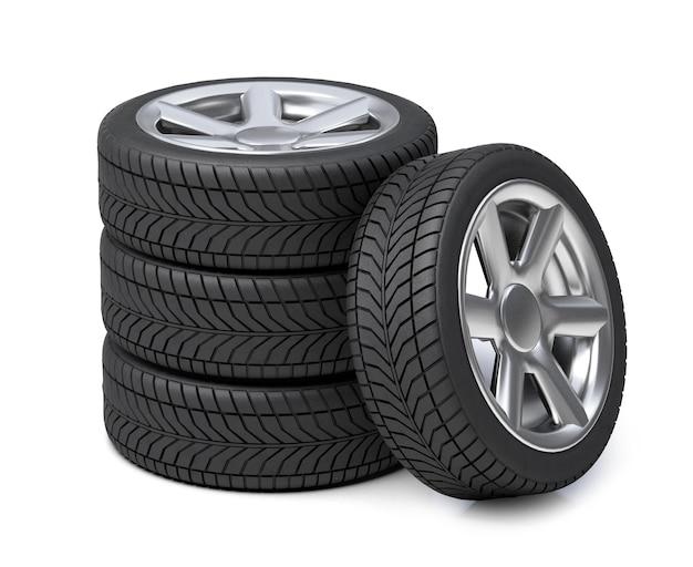 車のタイヤとリム。車の車輪のスタック。白い背景で隔離。 3dレンダリング。