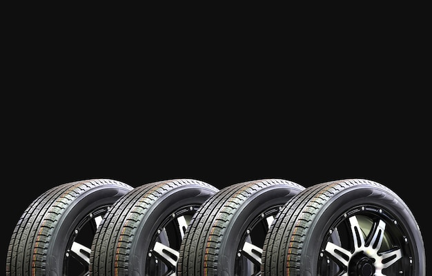 Car tires on black background