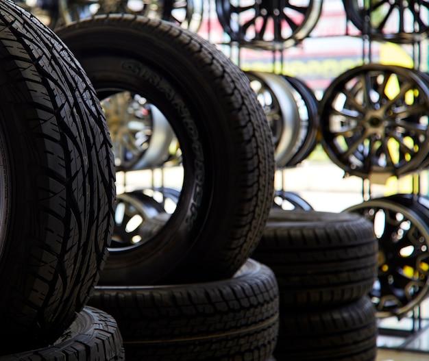 Car tires in car repair service, shop