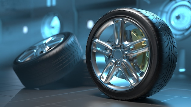 미래의 방에있는 자동차 타이어 합금 바퀴