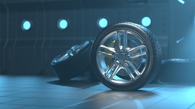 미래의 방에있는 자동차 타이어