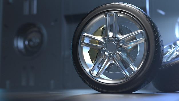 미래의 방에있는 자동차 타이어 프리미엄 사진