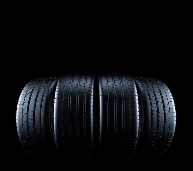 Car tires isolated on black