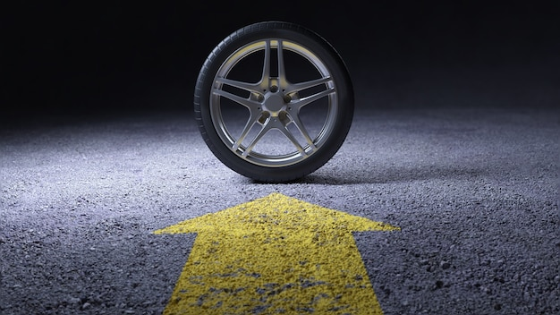 Автошины на асфальтовом литье. шиномонтаж. 3d визуализация