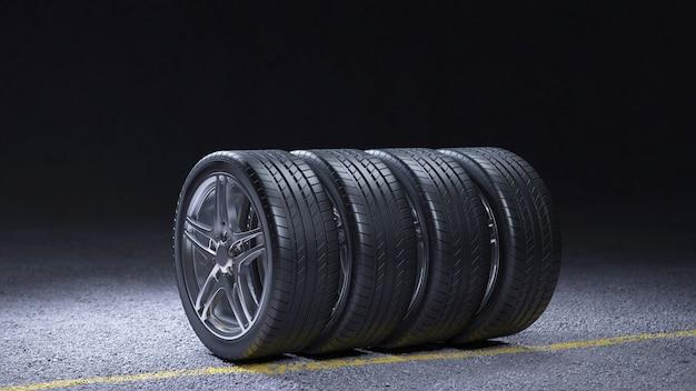 아스팔트 주조 타이어 피팅에 자동차 타이어