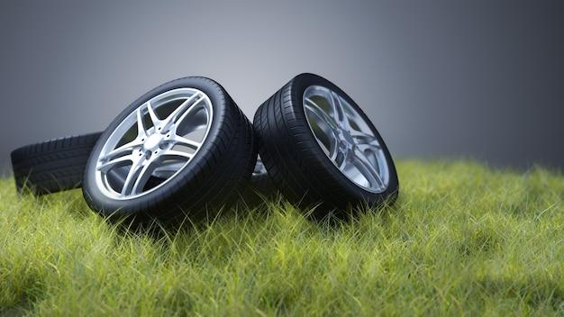 잔디에 자동차 타이어