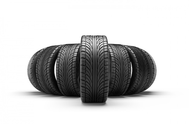 Car tires in row isolated on white wall. 3d rendering illustration.
