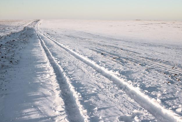 Car tracks on snow