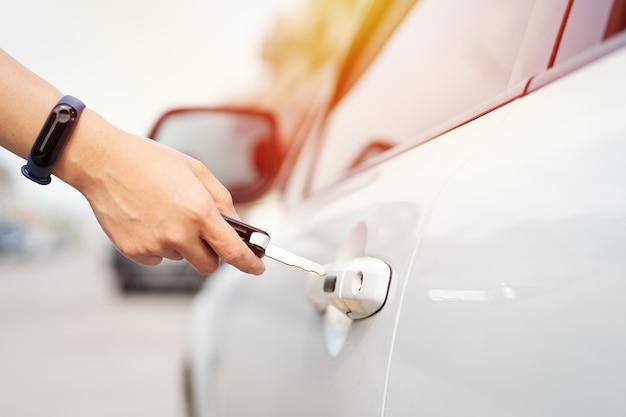Car unlocks remote point to open the door