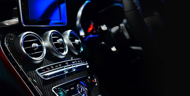 Car ventilation system and air conditioning - details and controls of modern car.