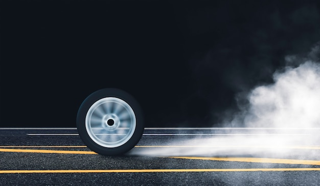 Car wheel burn rubber with spin circle motion on the asphalt road and white smoke at night