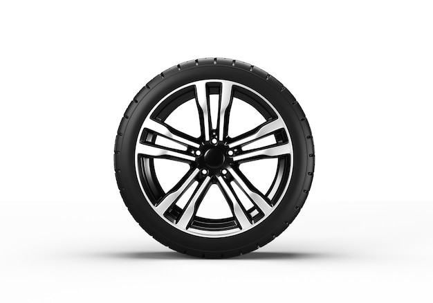 Car wheel isolated. 3d rendering illustration.