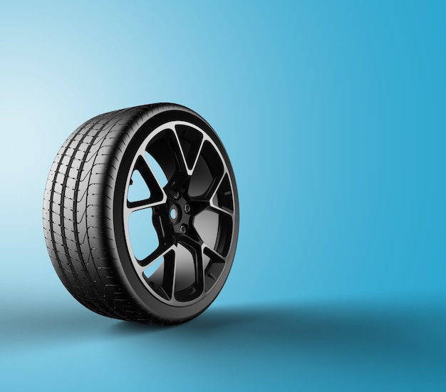 Car wheel isolated on a blue background