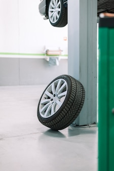 Car wheel repair shop outdoor ground